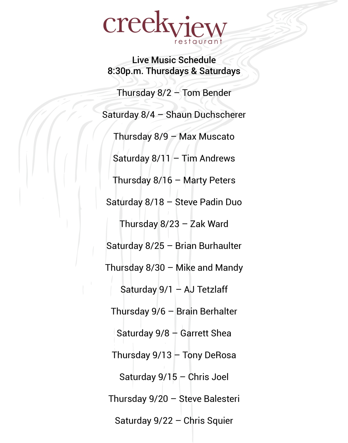 Live Music Schedule Creekview